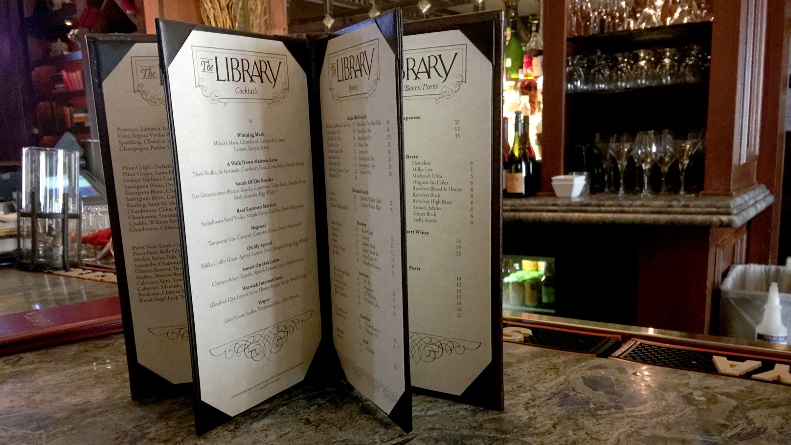 fingerprint design's photo of the Warwick's Library menu