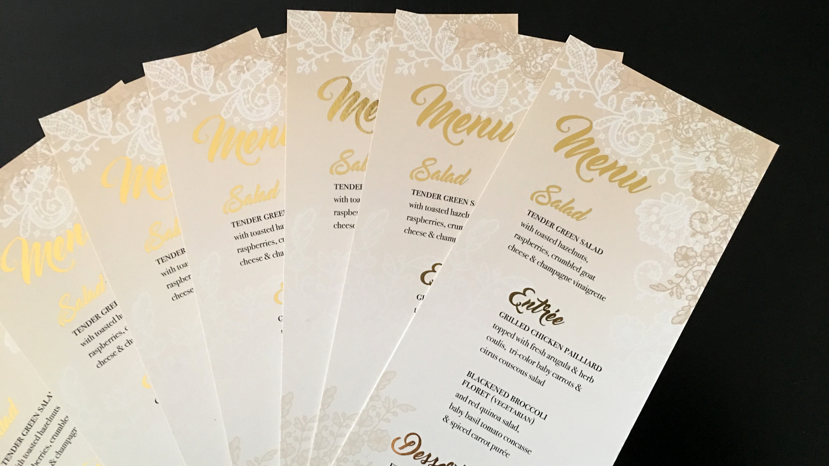 fingerprint design's closeup photo of Society of Wedding Professionals' Menu