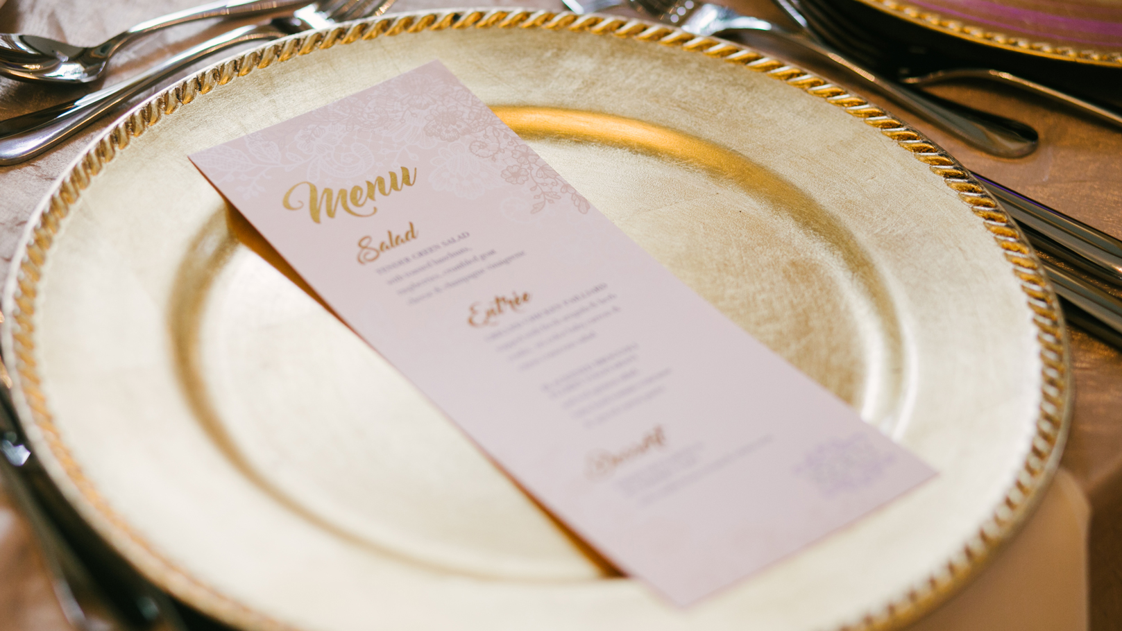fingerprint design's closeup photo of Society of Wedding Professionals' Menu on a Warwick Melrose plate